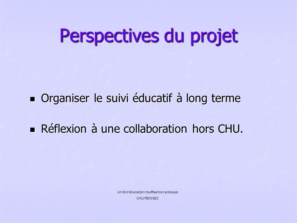Perspectives du projet Organiser le suivi éducatif à long terme Organiser le suivi éducatif à long terme Réflexion à une collaboration hors CHU. Réfle