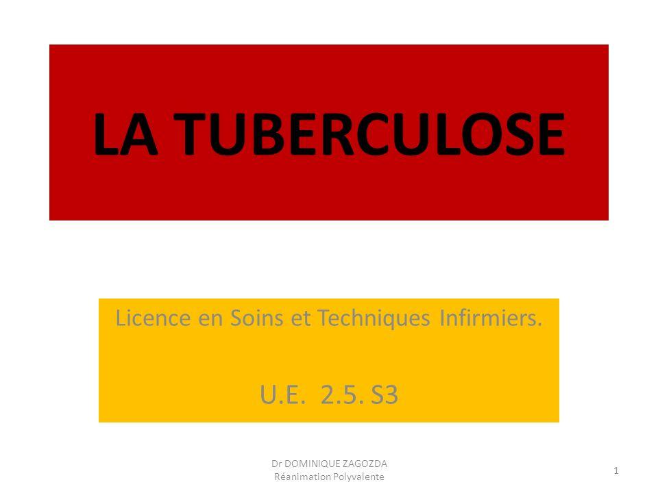 LA TUBERCULOSE Licence en Soins et Techniques Infirmiers. U.E. 2.5. S3 Dr DOMINIQUE ZAGOZDA Réanimation Polyvalente 1
