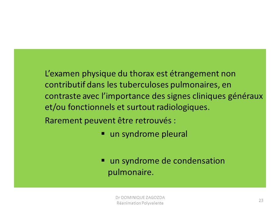 Lexamen physique du thorax est étrangement non contributif dans les tuberculoses pulmonaires, en contraste avec limportance des signes cliniques génér