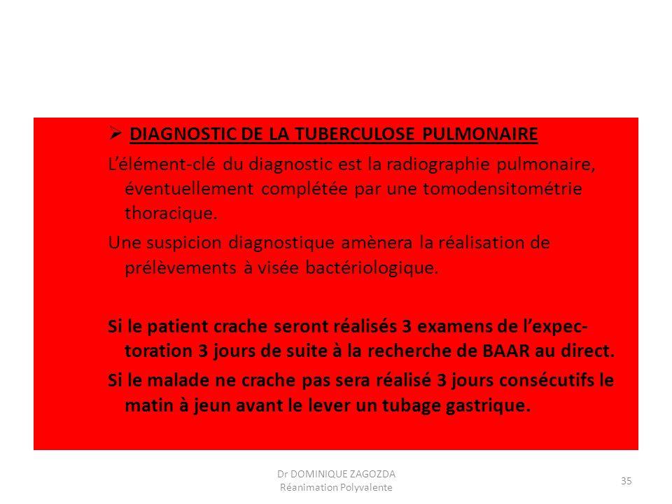 DIAGNOSTIC DE LA TUBERCULOSE PULMONAIRE Lélément-clé du diagnostic est la radiographie pulmonaire, éventuellement complétée par une tomodensitométrie