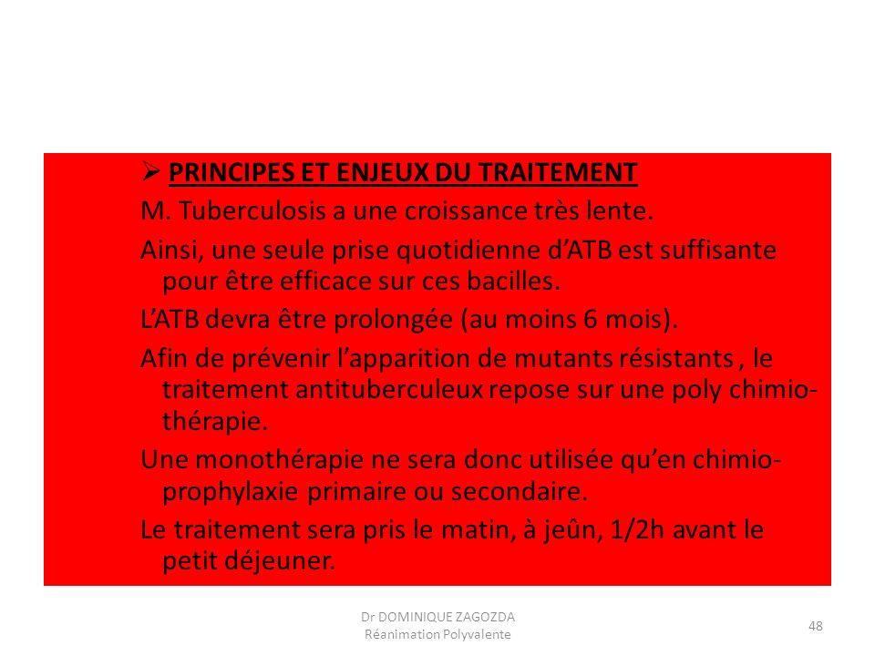 PRINCIPES ET ENJEUX DU TRAITEMENT M. Tuberculosis a une croissance très lente. Ainsi, une seule prise quotidienne dATB est suffisante pour être effica
