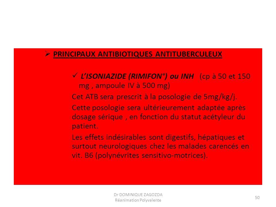 PRINCIPAUX ANTIBIOTIQUES ANTITUBERCULEUX LISONIAZIDE (RIMIFON°) ou INH (cp à 50 et 150 mg, ampoule IV à 500 mg) Cet ATB sera prescrit à la posologie d