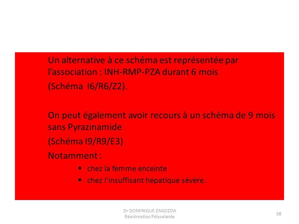 Un alternative à ce schéma est représentée par lassociation : INH-RMP-PZA durant 6 mois (Schéma I6/R6/Z2). On peut également avoir recours à un schéma