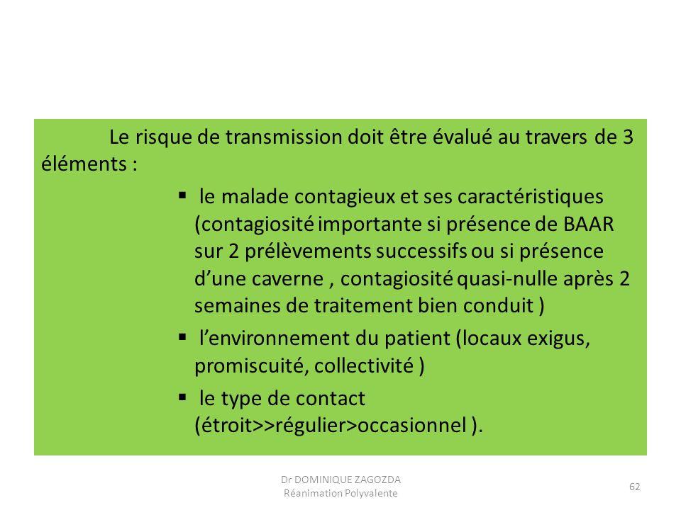 Le risque de transmission doit être évalué au travers de 3 éléments : le malade contagieux et ses caractéristiques (contagiosité importante si présenc