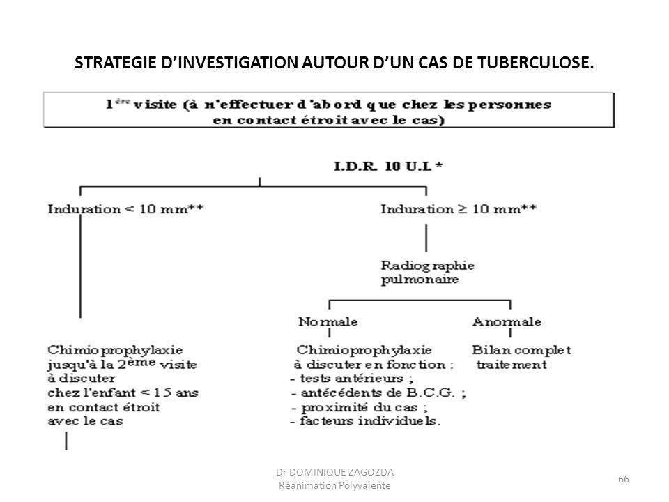 STRATEGIE DINVESTIGATION AUTOUR DUN CAS DE TUBERCULOSE. Dr DOMINIQUE ZAGOZDA Réanimation Polyvalente 66