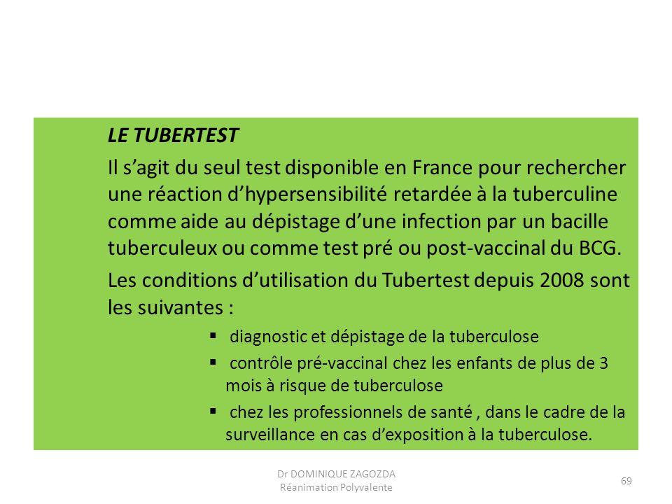 LE TUBERTEST Il sagit du seul test disponible en France pour rechercher une réaction dhypersensibilité retardée à la tuberculine comme aide au dépista