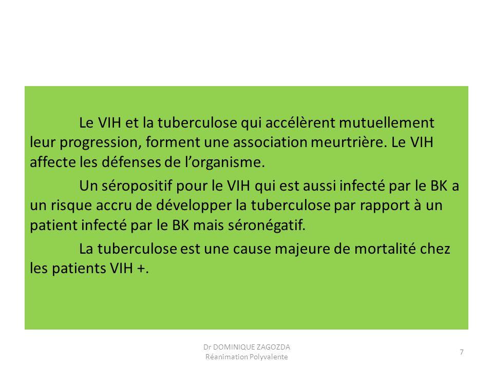 Le VIH et la tuberculose qui accélèrent mutuellement leur progression, forment une association meurtrière. Le VIH affecte les défenses de lorganisme.
