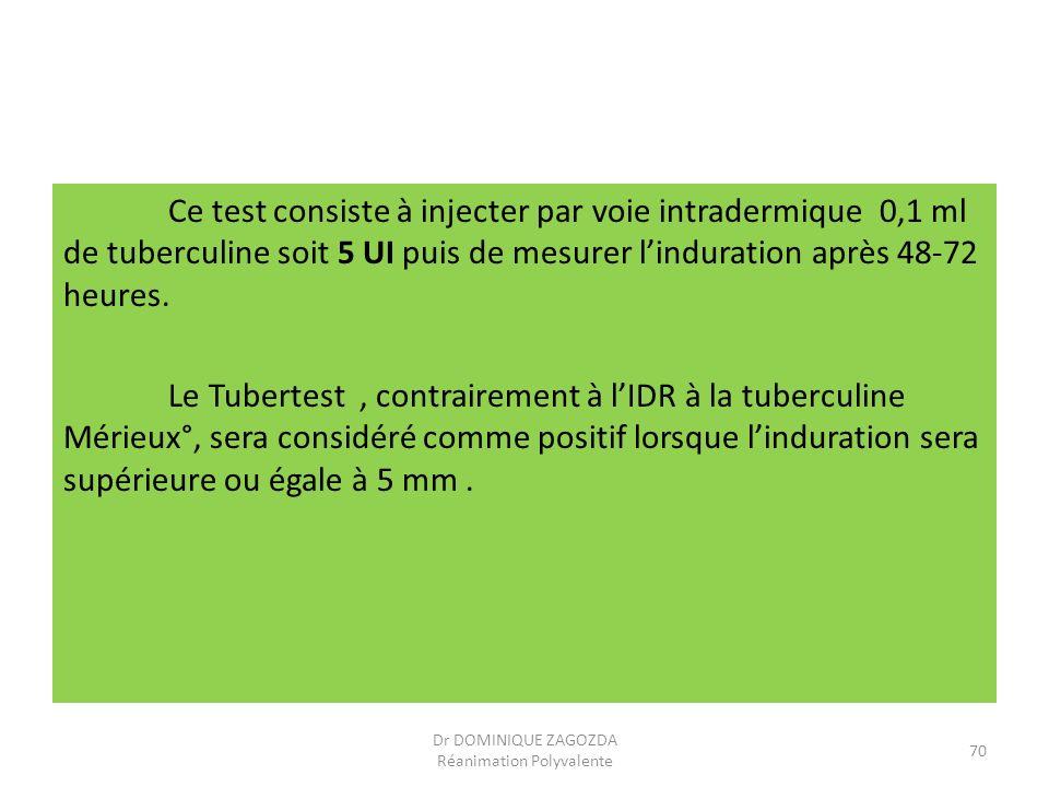 Ce test consiste à injecter par voie intradermique 0,1 ml de tuberculine soit 5 UI puis de mesurer linduration après 48-72 heures. Le Tubertest, contr