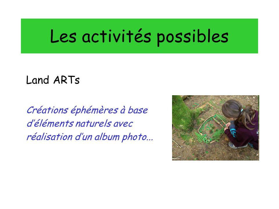 Les activités possibles Land ARTs Créations éphémères à base déléments naturels avec réalisation dun album photo...