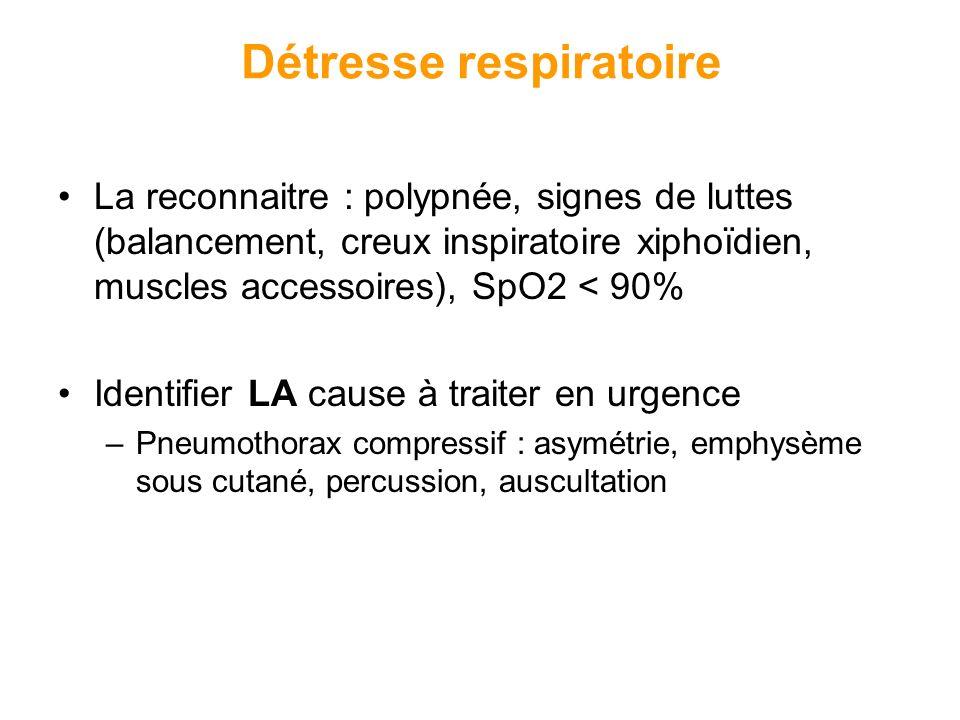 Détresse respiratoire La reconnaitre : polypnée, signes de luttes (balancement, creux inspiratoire xiphoïdien, muscles accessoires), SpO2 < 90% Identi