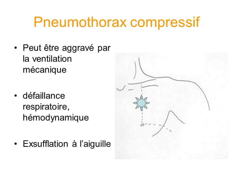 Pneumothorax compressif Peut être aggravé par la ventilation mécanique défaillance respiratoire, hémodynamique Exsufflation à laiguille