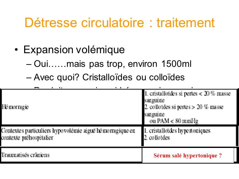 Détresse circulatoire : traitement Expansion volémique –Oui……mais pas trop, environ 1500ml –Avec quoi? Cristalloïdes ou colloïdes –Produits sanguins s