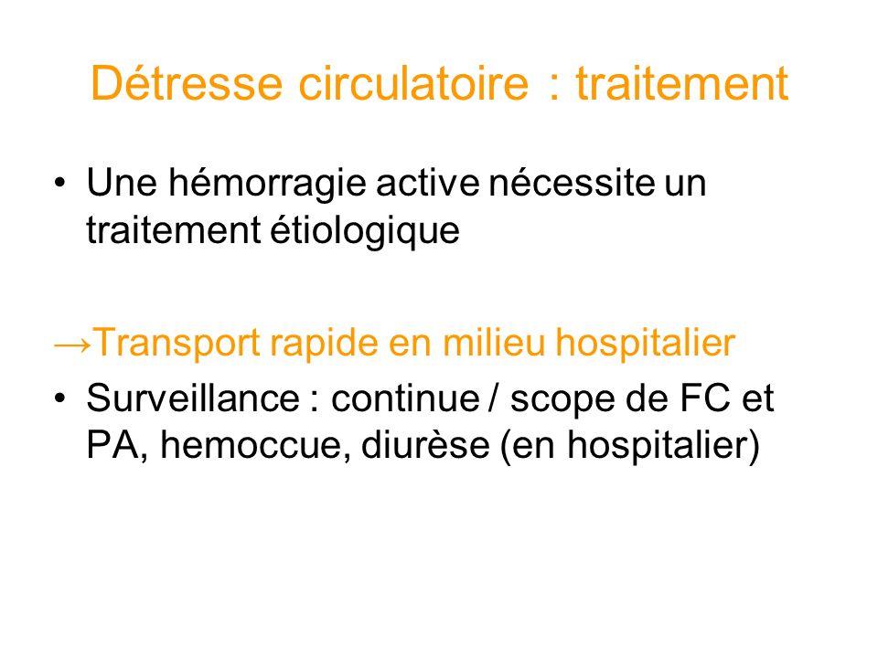 Détresse circulatoire : traitement Une hémorragie active nécessite un traitement étiologique Transport rapide en milieu hospitalier Surveillance : con