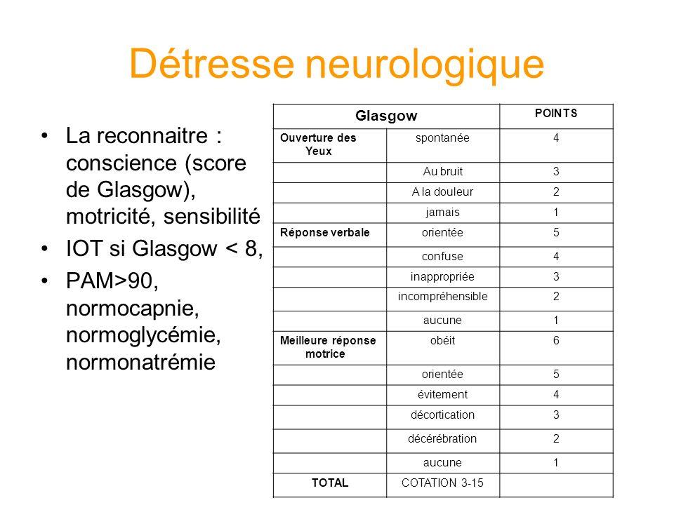 Détresse neurologique La reconnaitre : conscience (score de Glasgow), motricité, sensibilité IOT si Glasgow < 8, PAM>90, normocapnie, normoglycémie, n