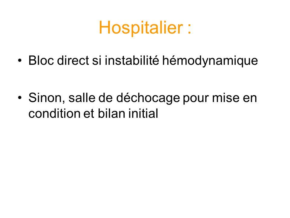 Hospitalier : Bloc direct si instabilité hémodynamique Sinon, salle de déchocage pour mise en condition et bilan initial