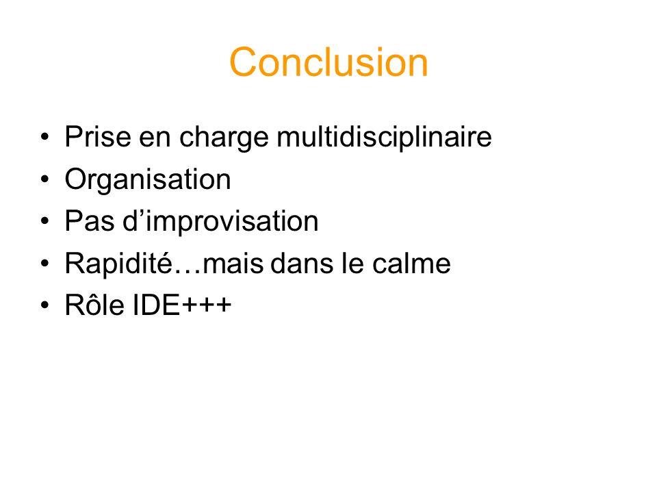Conclusion Prise en charge multidisciplinaire Organisation Pas dimprovisation Rapidité…mais dans le calme Rôle IDE+++