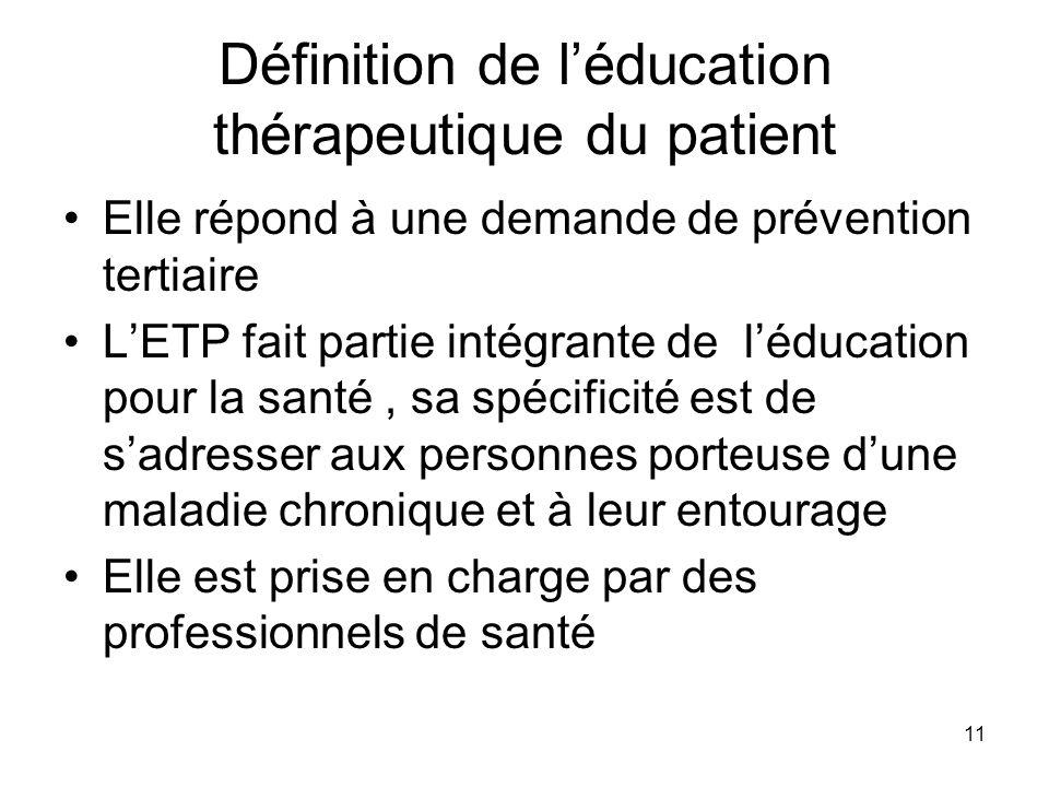 11 Définition de léducation thérapeutique du patient Elle répond à une demande de prévention tertiaire LETP fait partie intégrante de léducation pour