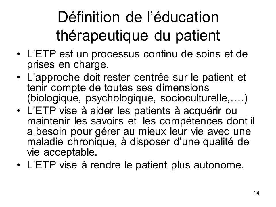 14 Définition de léducation thérapeutique du patient LETP est un processus continu de soins et de prises en charge. Lapproche doit rester centrée sur