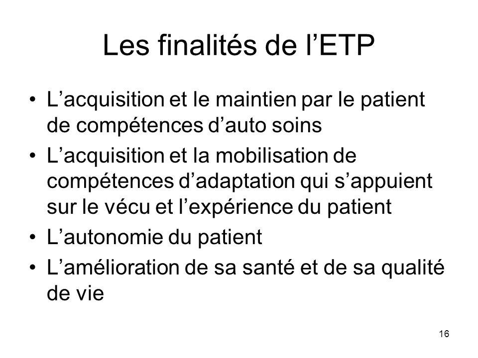16 Les finalités de lETP Lacquisition et le maintien par le patient de compétences dauto soins Lacquisition et la mobilisation de compétences dadaptat