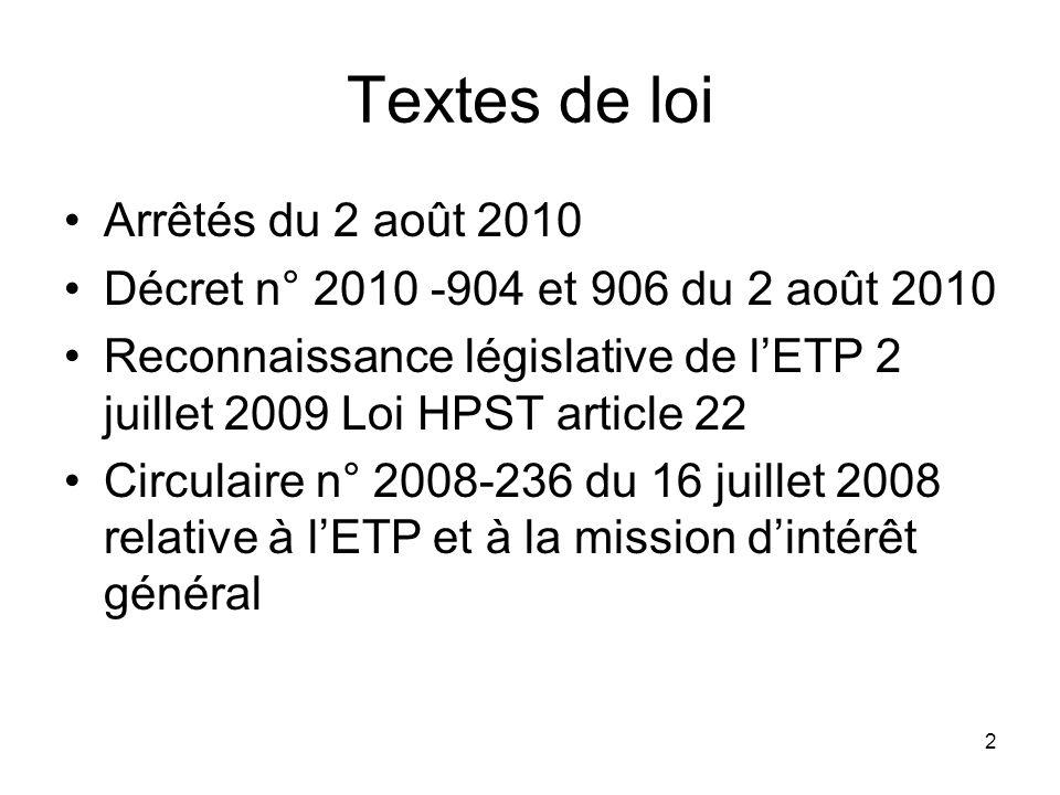 2 Textes de loi Arrêtés du 2 août 2010 Décret n° 2010 -904 et 906 du 2 août 2010 Reconnaissance législative de lETP 2 juillet 2009 Loi HPST article 22