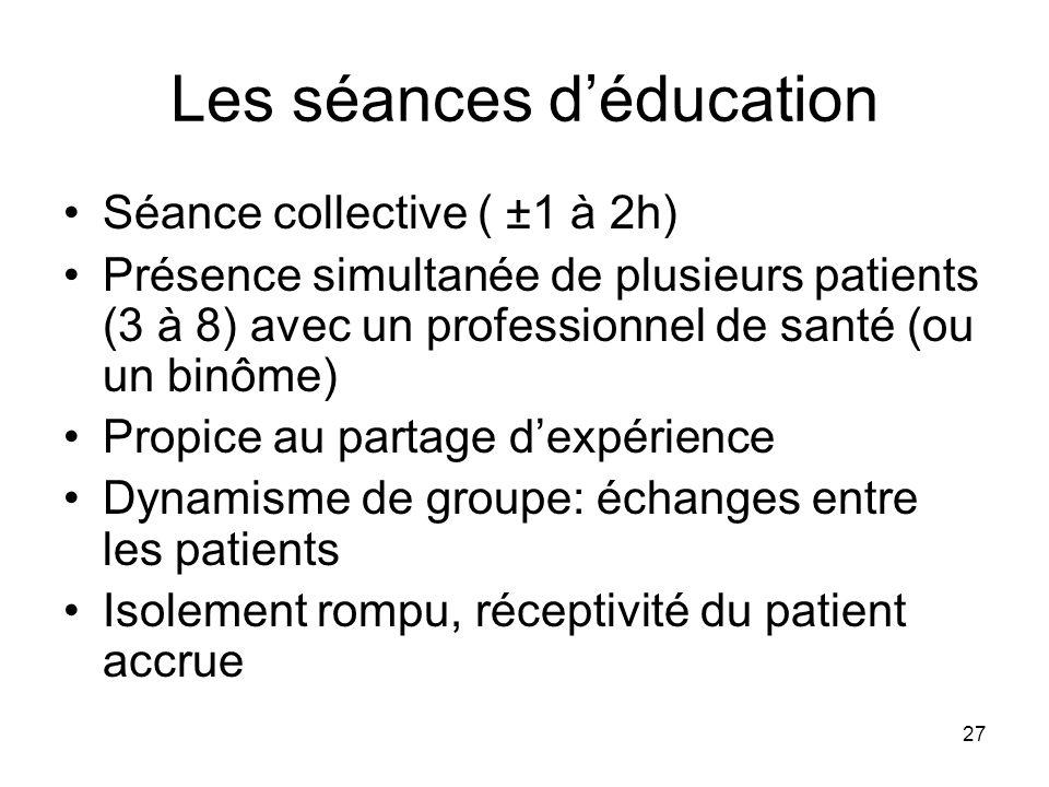 27 Les séances déducation Séance collective ( ±1 à 2h) Présence simultanée de plusieurs patients (3 à 8) avec un professionnel de santé (ou un binôme)