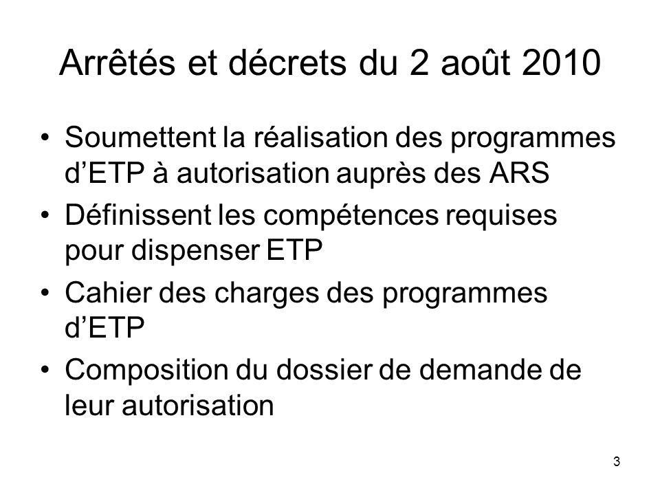 3 Arrêtés et décrets du 2 août 2010 Soumettent la réalisation des programmes dETP à autorisation auprès des ARS Définissent les compétences requises p