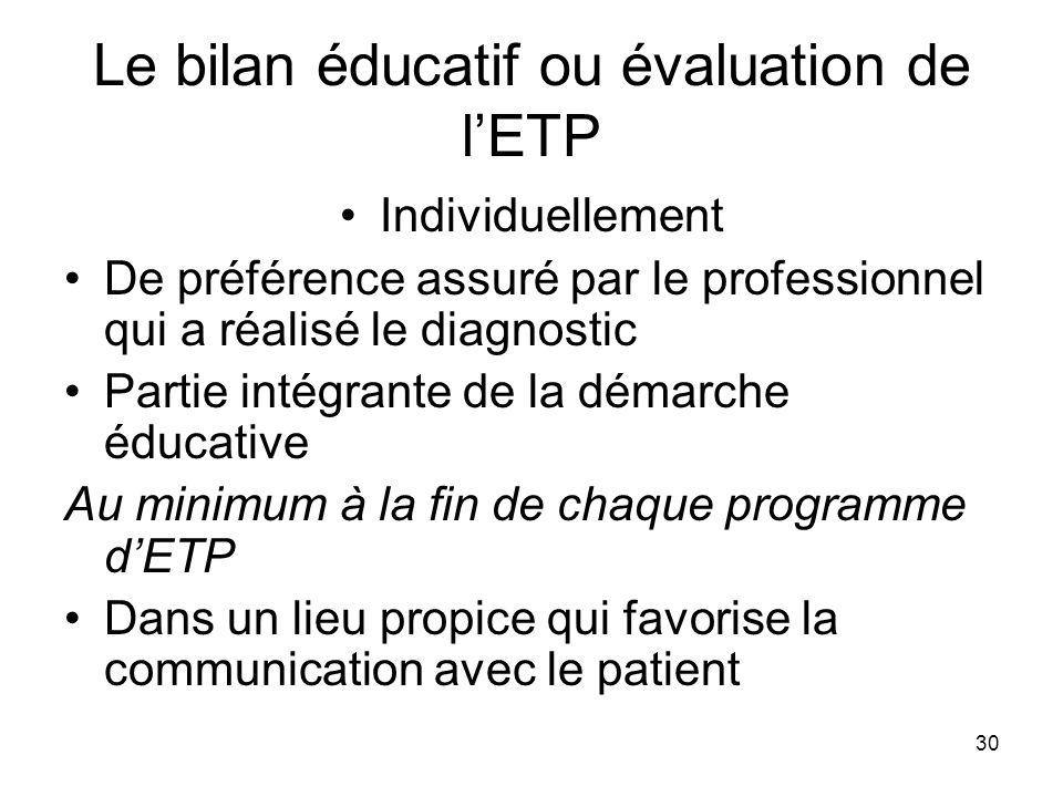 30 Le bilan éducatif ou évaluation de lETP Individuellement De préférence assuré par le professionnel qui a réalisé le diagnostic Partie intégrante de