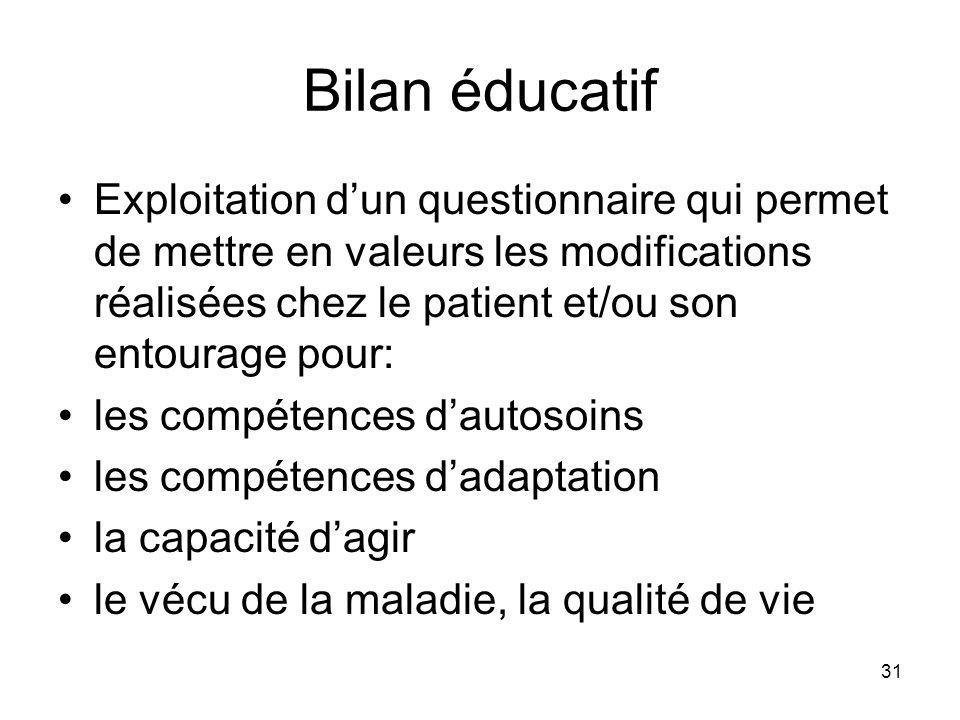 31 Bilan éducatif Exploitation dun questionnaire qui permet de mettre en valeurs les modifications réalisées chez le patient et/ou son entourage pour: