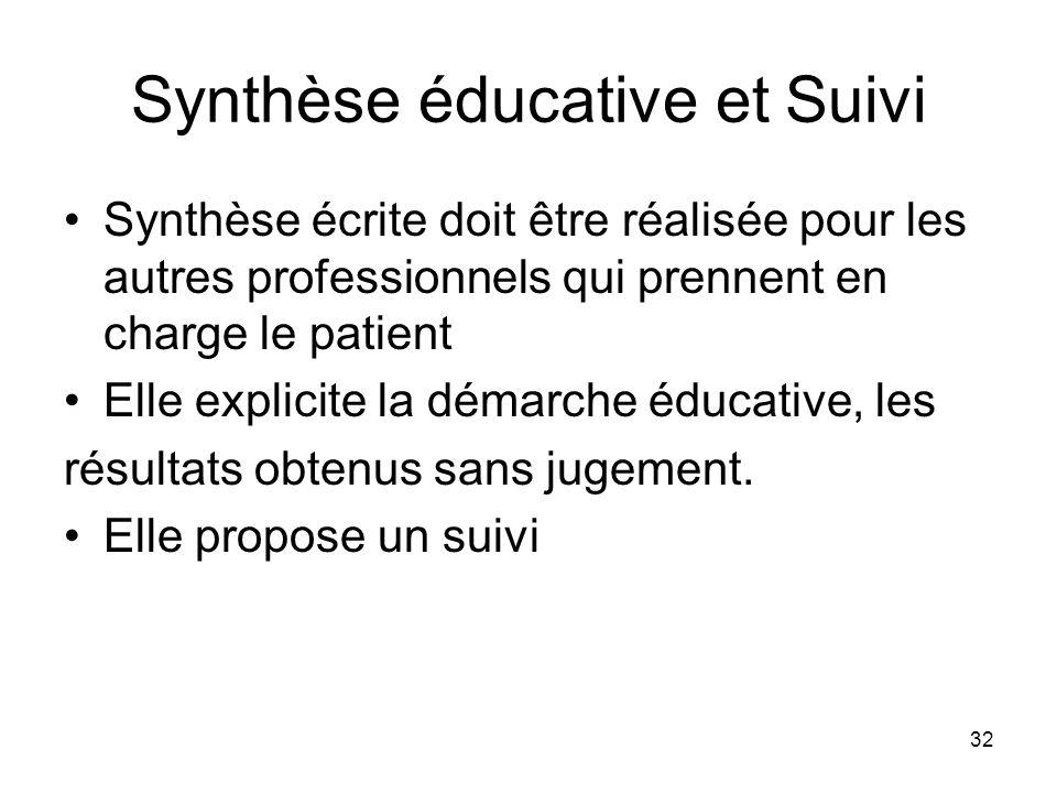 32 Synthèse éducative et Suivi Synthèse écrite doit être réalisée pour les autres professionnels qui prennent en charge le patient Elle explicite la d
