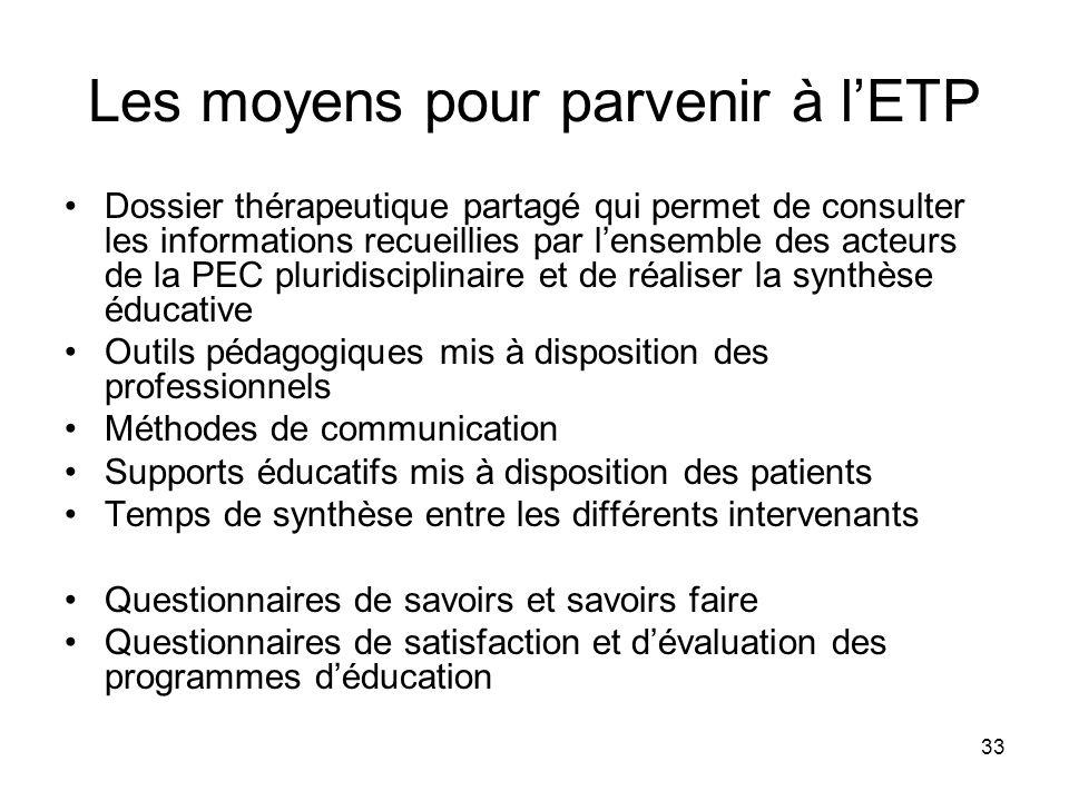 33 Les moyens pour parvenir à lETP Dossier thérapeutique partagé qui permet de consulter les informations recueillies par lensemble des acteurs de la