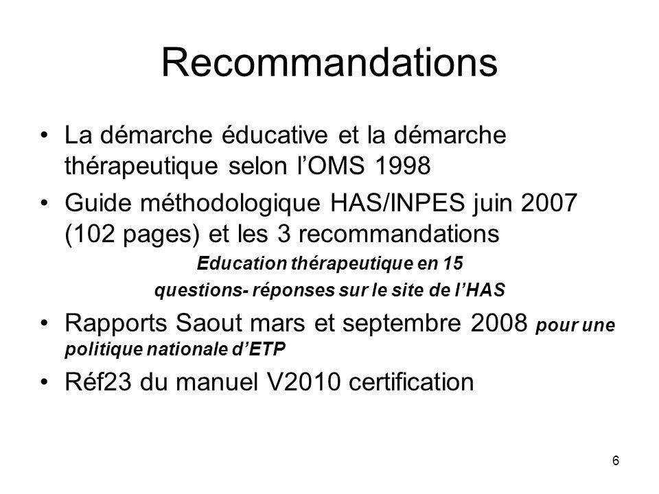 6 Recommandations La démarche éducative et la démarche thérapeutique selon lOMS 1998 Guide méthodologique HAS/INPES juin 2007 (102 pages) et les 3 rec