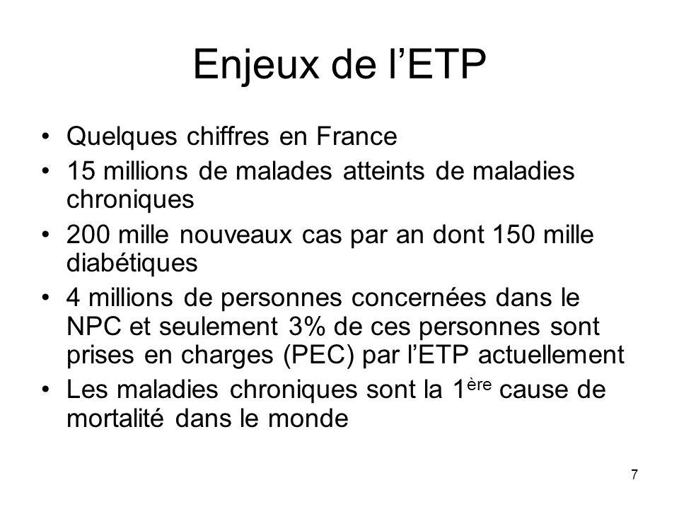 7 Enjeux de lETP Quelques chiffres en France 15 millions de malades atteints de maladies chroniques 200 mille nouveaux cas par an dont 150 mille diabé