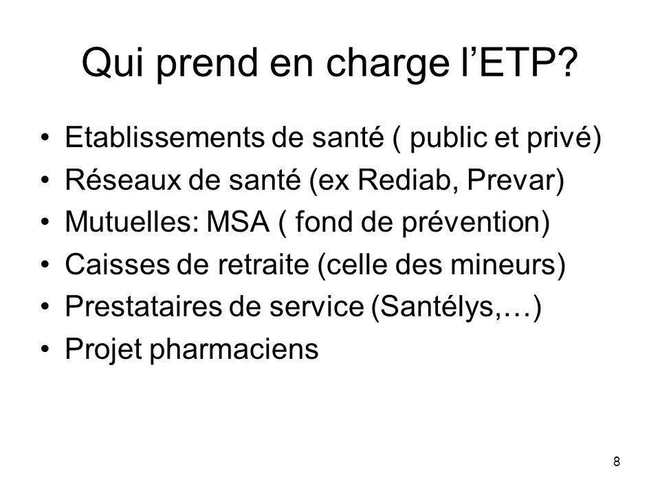 8 Qui prend en charge lETP? Etablissements de santé ( public et privé) Réseaux de santé (ex Rediab, Prevar) Mutuelles: MSA ( fond de prévention) Caiss