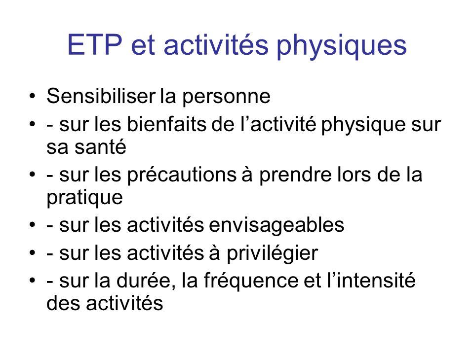 ETP et activités physiques Sensibiliser la personne - sur les bienfaits de lactivité physique sur sa santé - sur les précautions à prendre lors de la