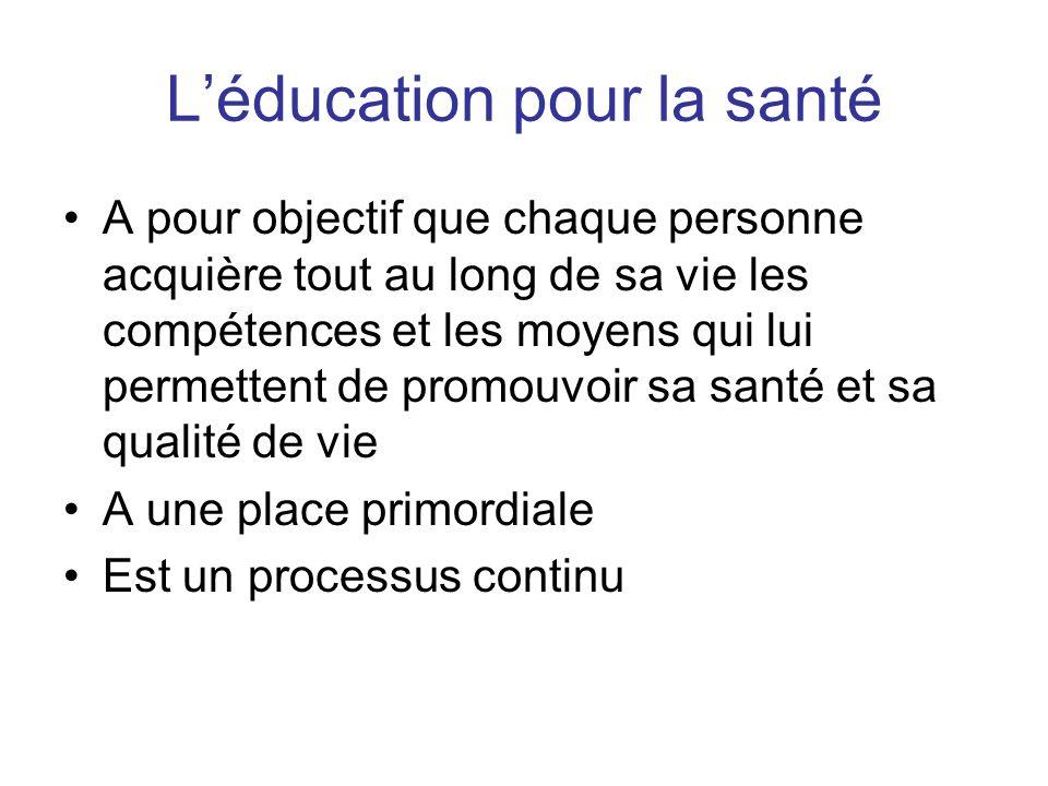 Léducation pour la santé A pour objectif que chaque personne acquière tout au long de sa vie les compétences et les moyens qui lui permettent de promo