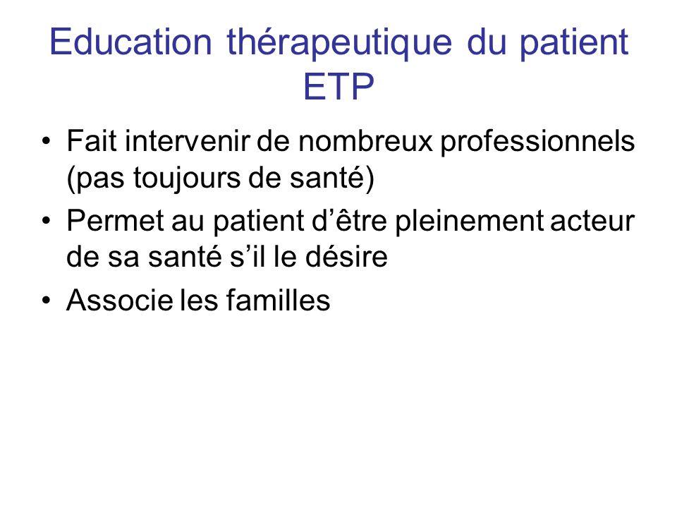Education thérapeutique du patient ETP Fait intervenir de nombreux professionnels (pas toujours de santé) Permet au patient dêtre pleinement acteur de