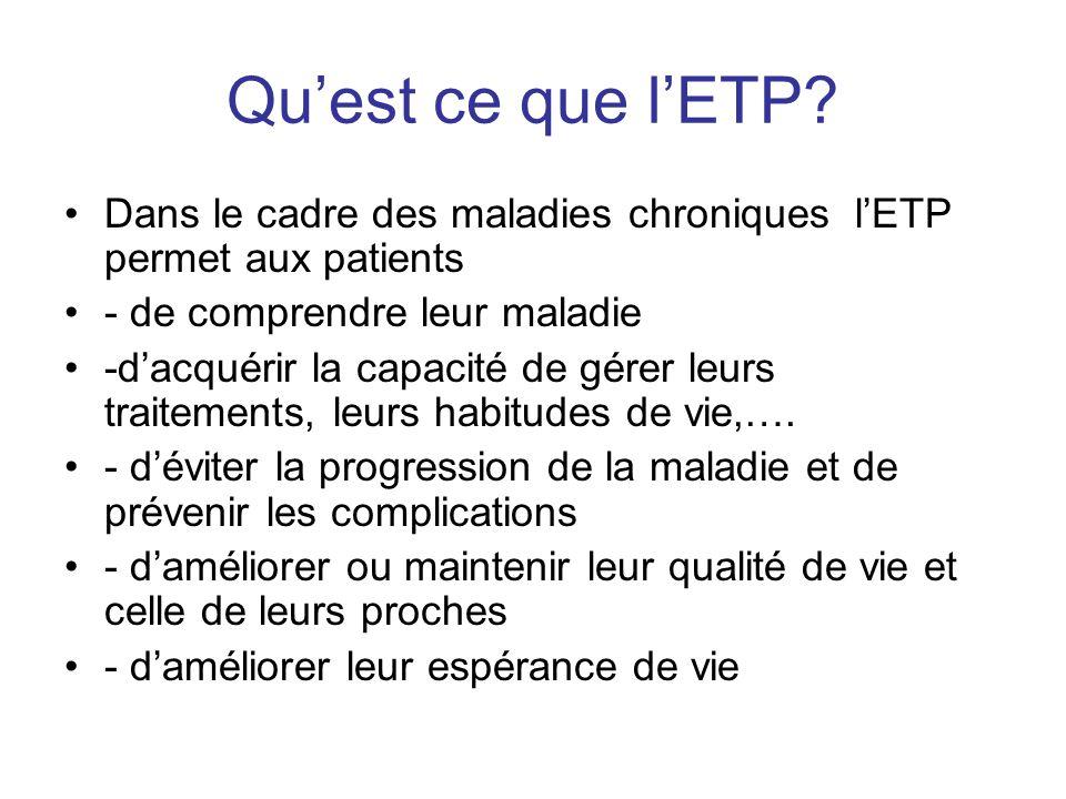 Quest ce que lETP? Dans le cadre des maladies chroniques lETP permet aux patients - de comprendre leur maladie -dacquérir la capacité de gérer leurs t