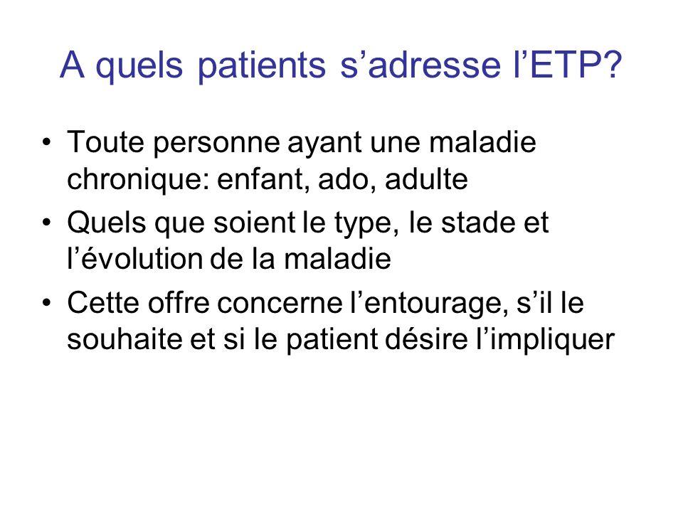 A quels patients sadresse lETP? Toute personne ayant une maladie chronique: enfant, ado, adulte Quels que soient le type, le stade et lévolution de la