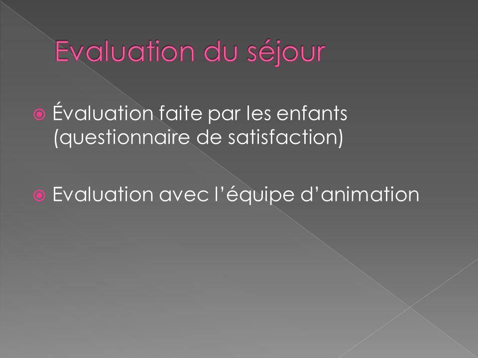 Évaluation faite par les enfants (questionnaire de satisfaction) Evaluation avec léquipe danimation