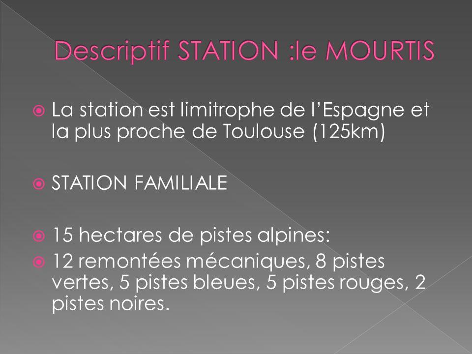 La station est limitrophe de lEspagne et la plus proche de Toulouse (125km) STATION FAMILIALE 15 hectares de pistes alpines: 12 remontées mécaniques,