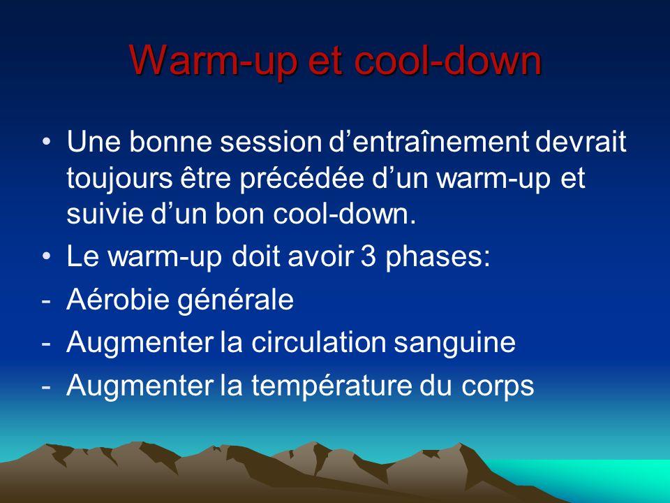 Warm-up et cool-down Une bonne session dentraînement devrait toujours être précédée dun warm-up et suivie dun bon cool-down. Le warm-up doit avoir 3 p