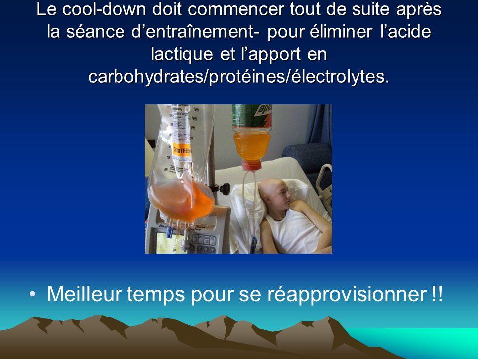 Le cool-down doit commencer tout de suite après la séance dentraînement- pour éliminer lacide lactique et lapport en carbohydrates/protéines/électrolytes.