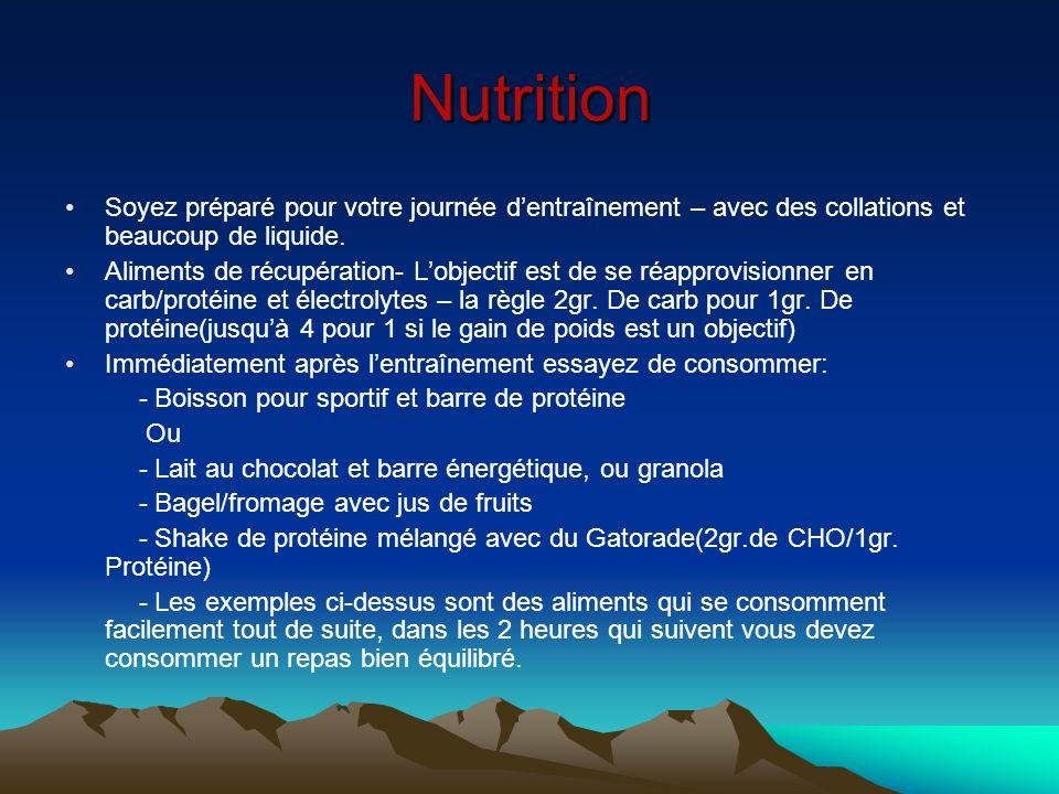 Nutrition Soyez préparé pour votre journée dentraînement – avec des collations et beaucoup de liquide. Aliments de récupération- Lobjectif est de se r