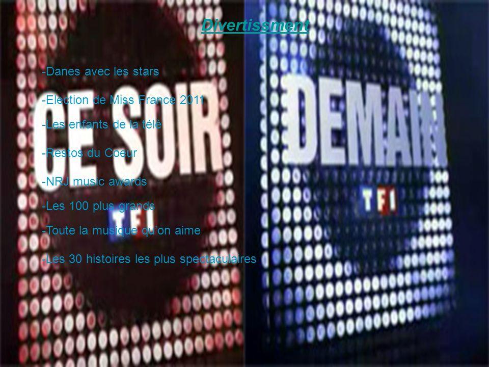 Divertissment -Danes avec les stars -Election de Miss France 2011 -Les enfants de la télé -Restos du Coeur -NRJ music awards -Les 100 plus grands -Toute la musique quon aime -Les 30 histoires les plus spectaculaires
