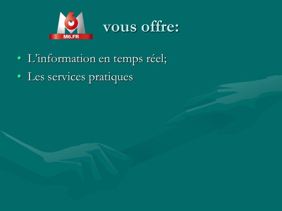 vous offre: Linformation en temps réel;Linformation en temps réel; Les services pratiquesLes services pratiques
