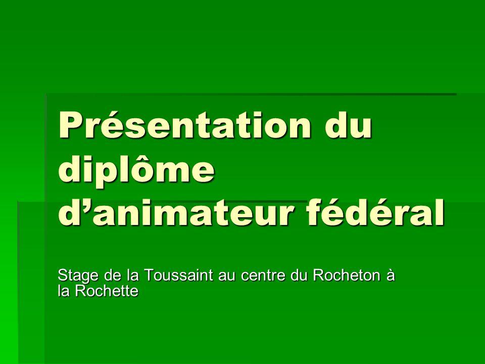 Présentation du diplôme danimateur fédéral Stage de la Toussaint au centre du Rocheton à la Rochette