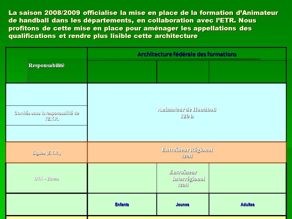 La saison 2008/2009 officialise la mise en place de la formation dAnimateur de handball dans les départements, en collaboration avec lETR.