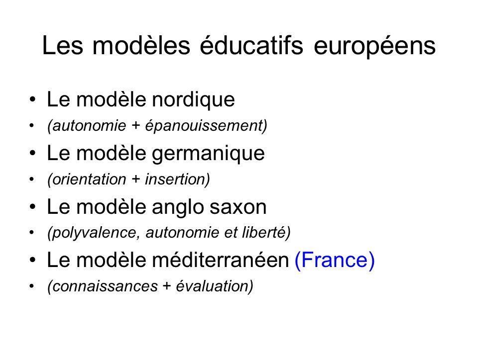 Les modèles éducatifs européens Le modèle nordique (autonomie + épanouissement) Le modèle germanique (orientation + insertion) Le modèle anglo saxon (