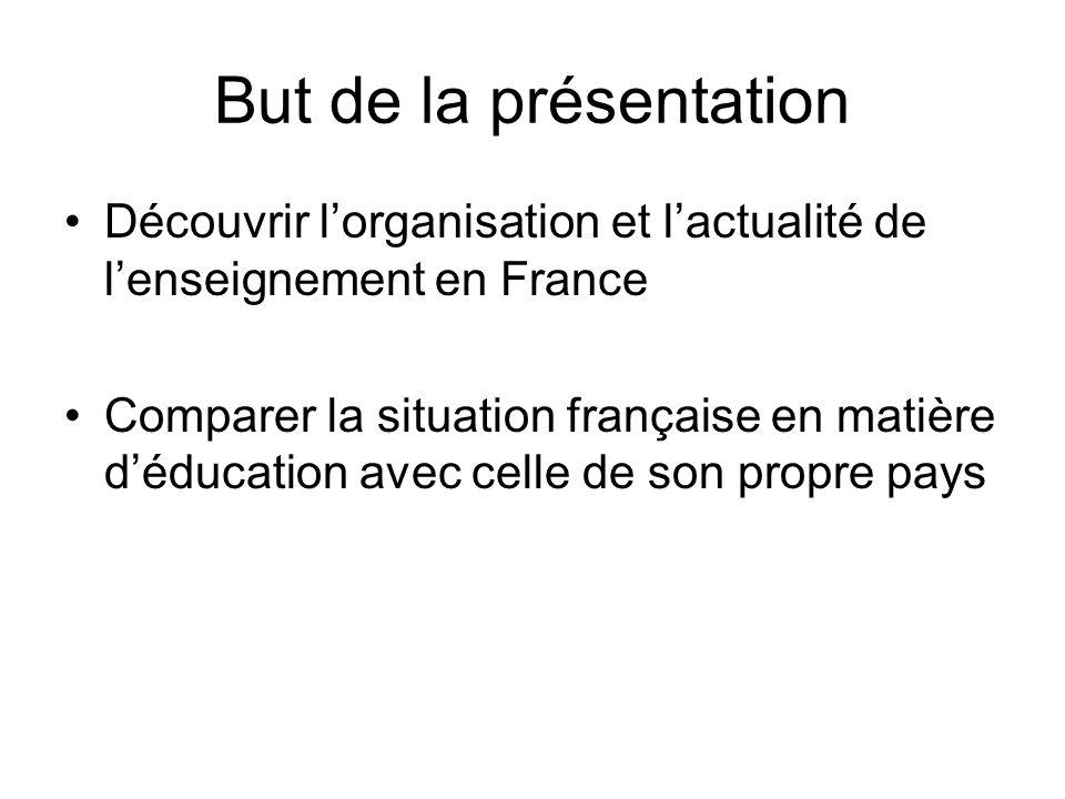 But de la présentation Découvrir lorganisation et lactualité de lenseignement en France Comparer la situation française en matière déducation avec cel