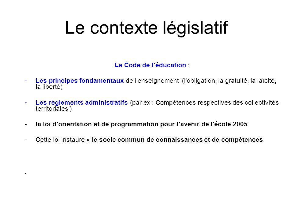 Le contexte législatif Le Code de léducation : -Les principes fondamentaux de l'enseignement (l'obligation, la gratuité, la laïcité, la liberté) -Les